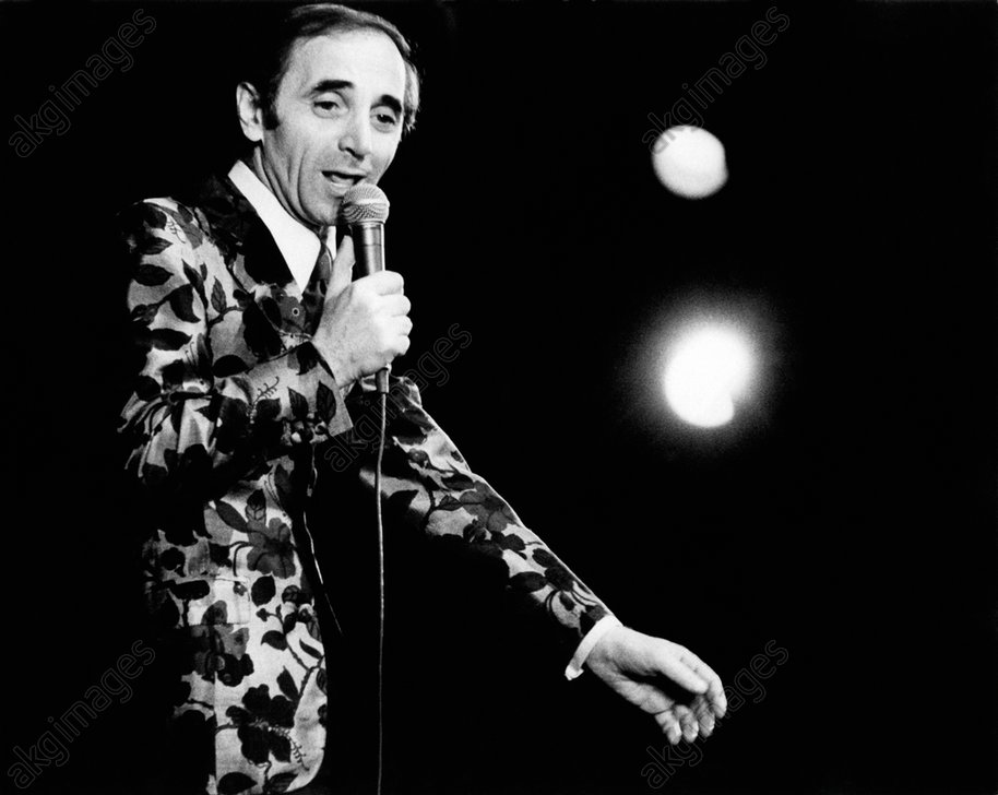 Charles Aznavour during a performance at Olympia in Paris.<br/>AKG1734626