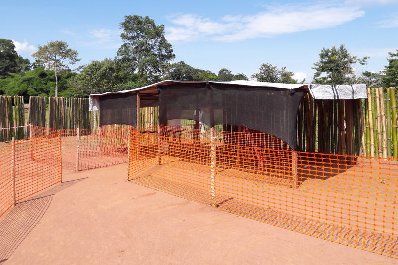 One of the two Ebola treatment centers setup by MSF in Likati area. Because of the little number of cases as well as the logistical difficulty of bringing in supply in this remote region, it was preferable to setup small structures rather than the large structures that were needed in the big West Africa outbreak of 2014-2015. Photographer: MSF Staff