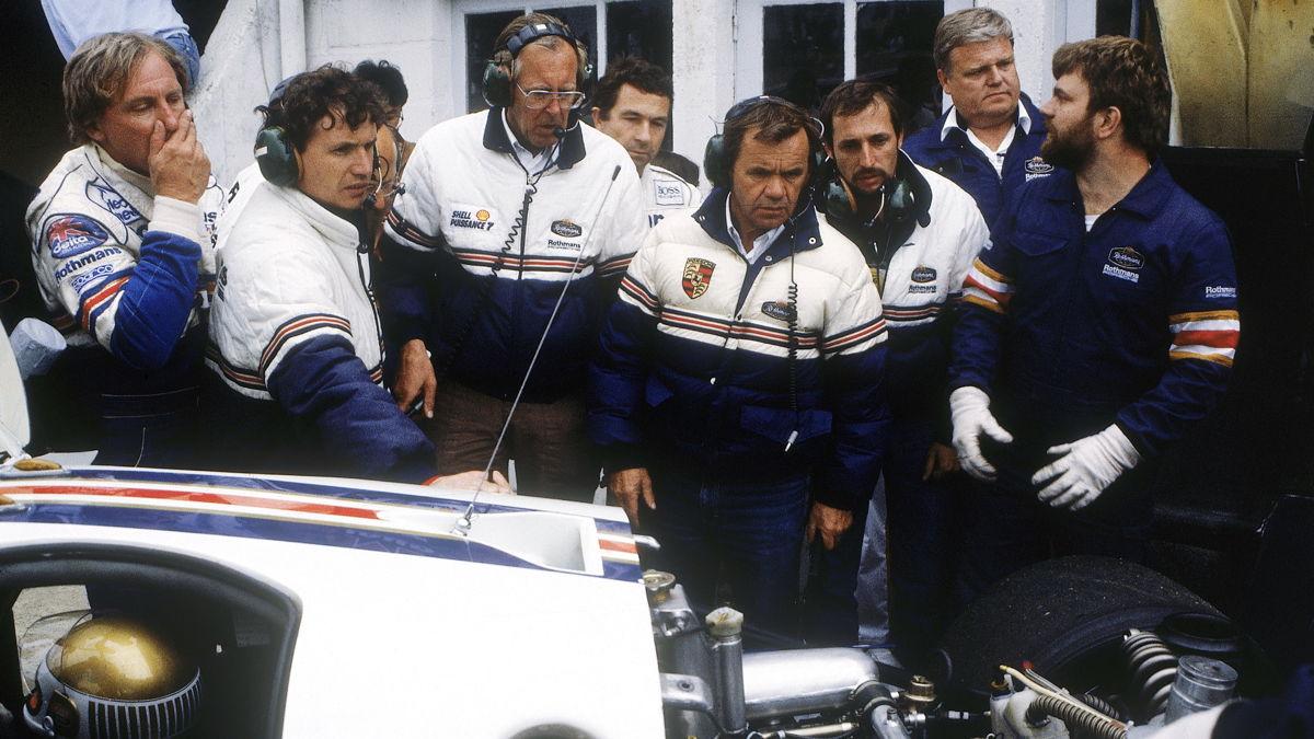 Valentin Schäffer (centro) en Le Mans, 1986
