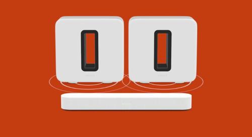 ¿Necesitas más graves? Sonos permite añadir un segundo Sub a una configuración de cine en casa.