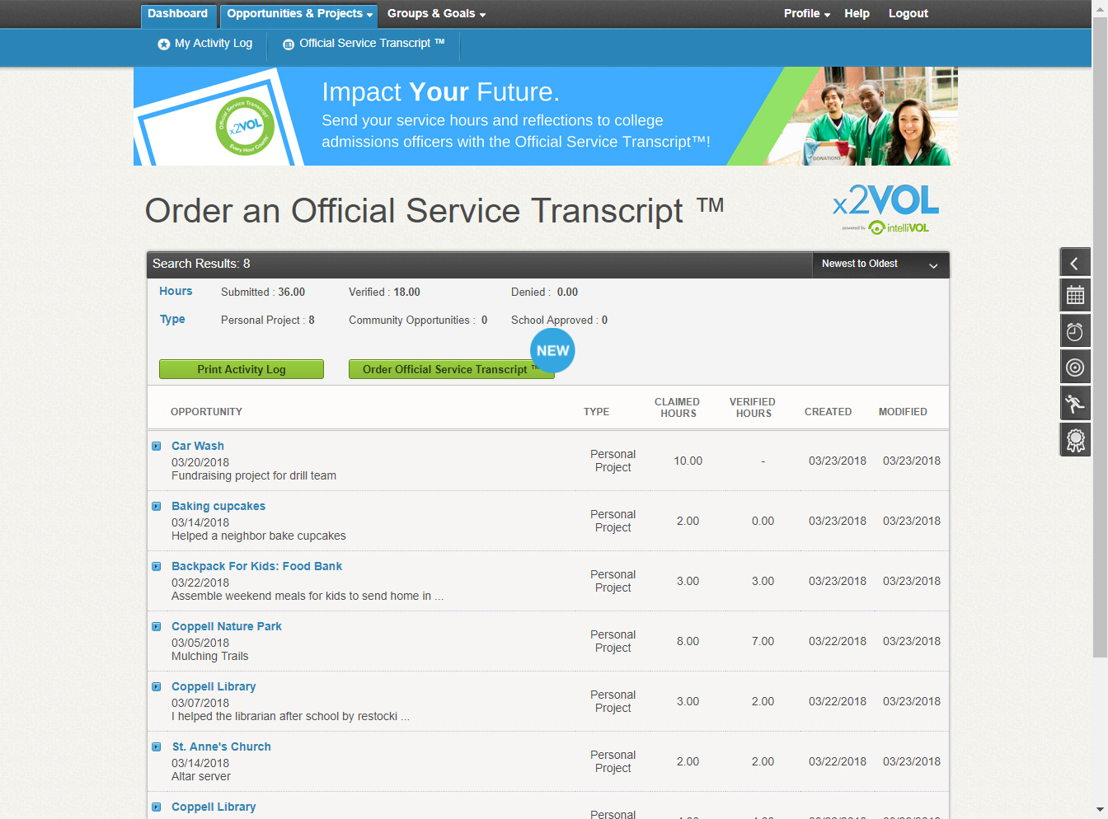 x2VOL+ generates reports for college or scholarship admissions. Students can also request their Official Service Transcript to be sent for college admissions or scholarship applications.