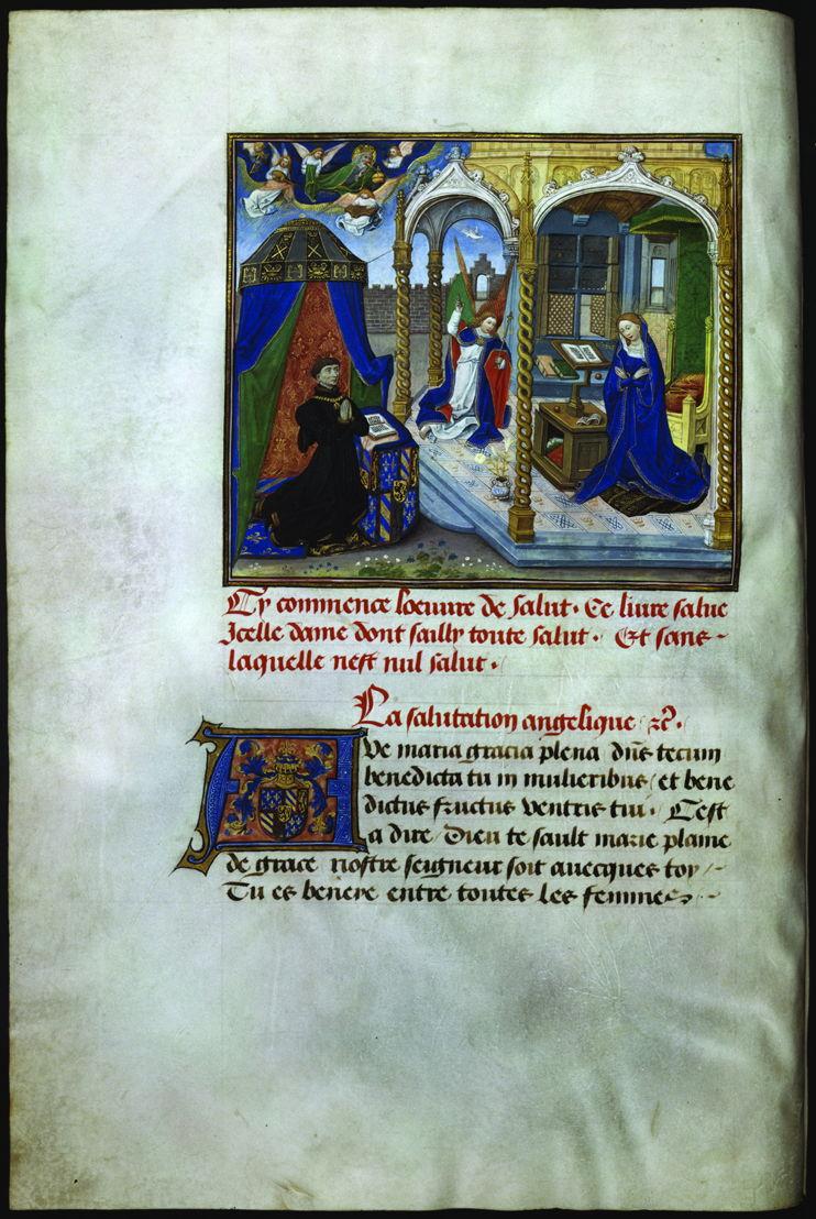 Philippe le Bon agenouillé en prière devant l'Annonciation<br/>miniature de Willem Vrelant dans le Traité sur la salutation angélique<br/>KBR-ms. 9270 – folio 2 verso