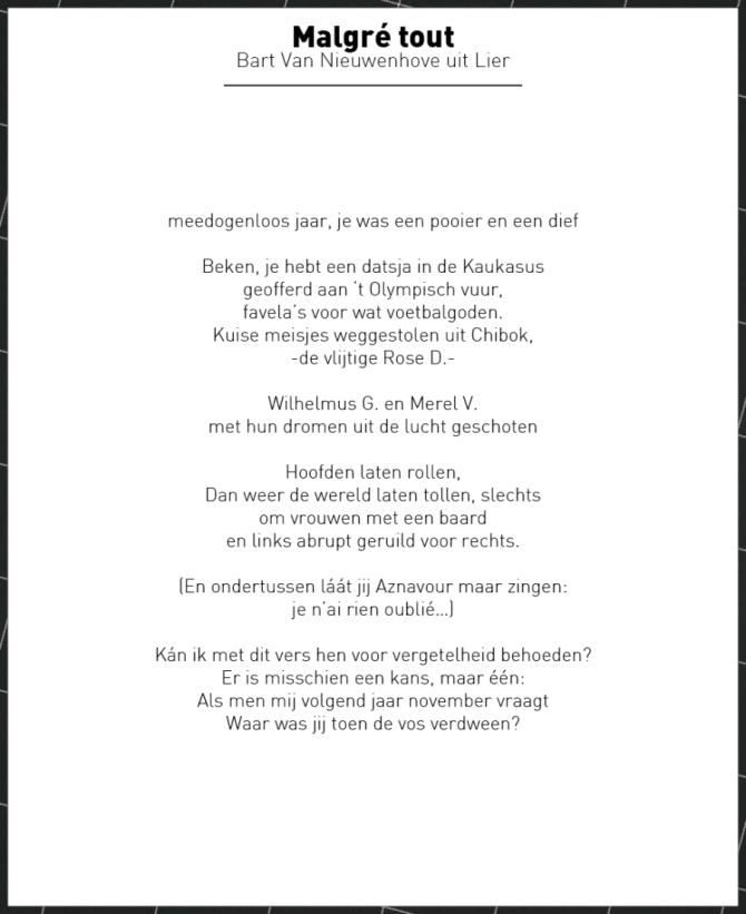 """""""Malgré tout"""" : het VRT nieuwsgedicht van 2014 - Bart Van Nieuwenhove"""