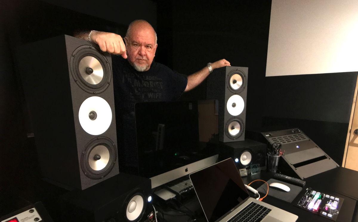 Lu Diaz in his private studio with Amphion Two18 monitors.