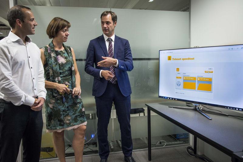 Micha Berger (CTO, Telenet), Ann Caluwaerts (Corporate Affairs & Communications, Telenet), Alexander De Croo
