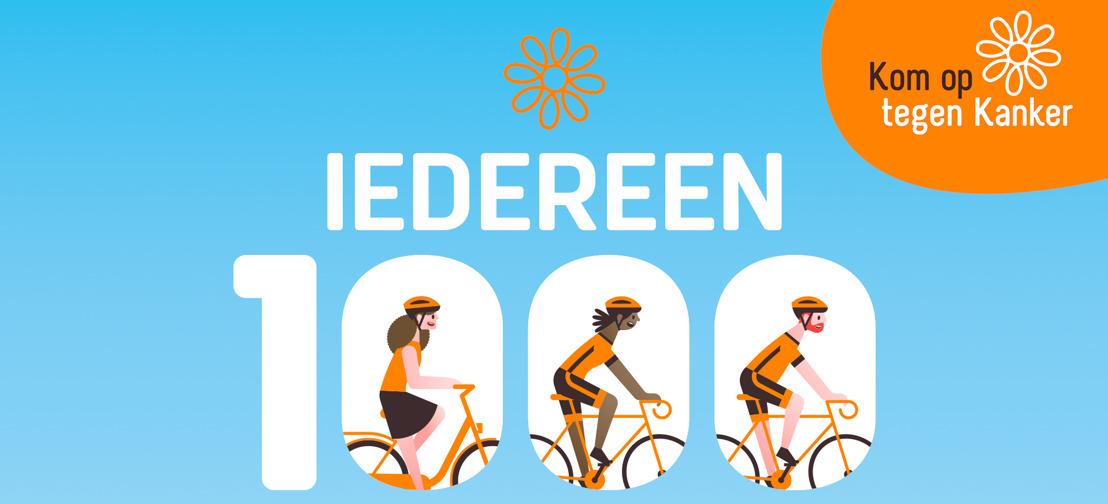 Kom op tegen Kanker roept met Iedereen 1000 heel Vlaanderen op om te trappen tegen kanker