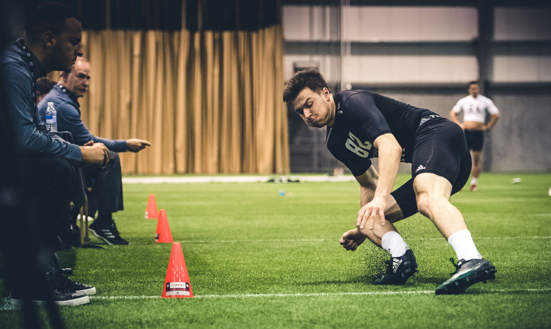 Mitchell Picton lors du camp d'évaluation de la LCF, présenté par adidas. Crédit : Johany Jutras/LCF