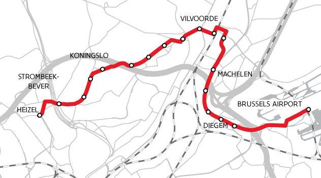 Het tracé van de Ringtrambus bij de opstart