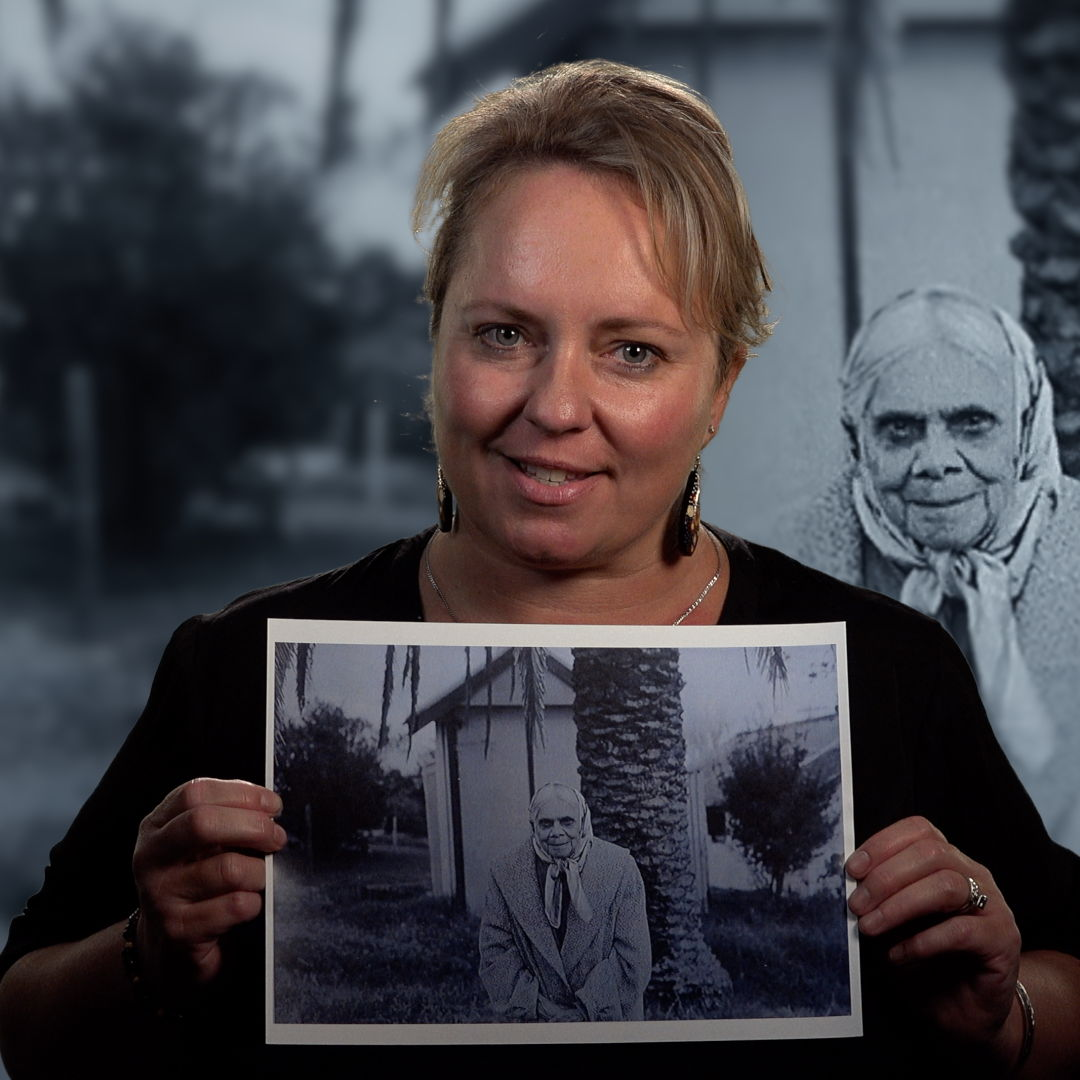 "Dharawal woman Shannon Foster with a photograph of her great-grandmother Eliza Foster, in RN's ""AWAYE! Because of Her""."