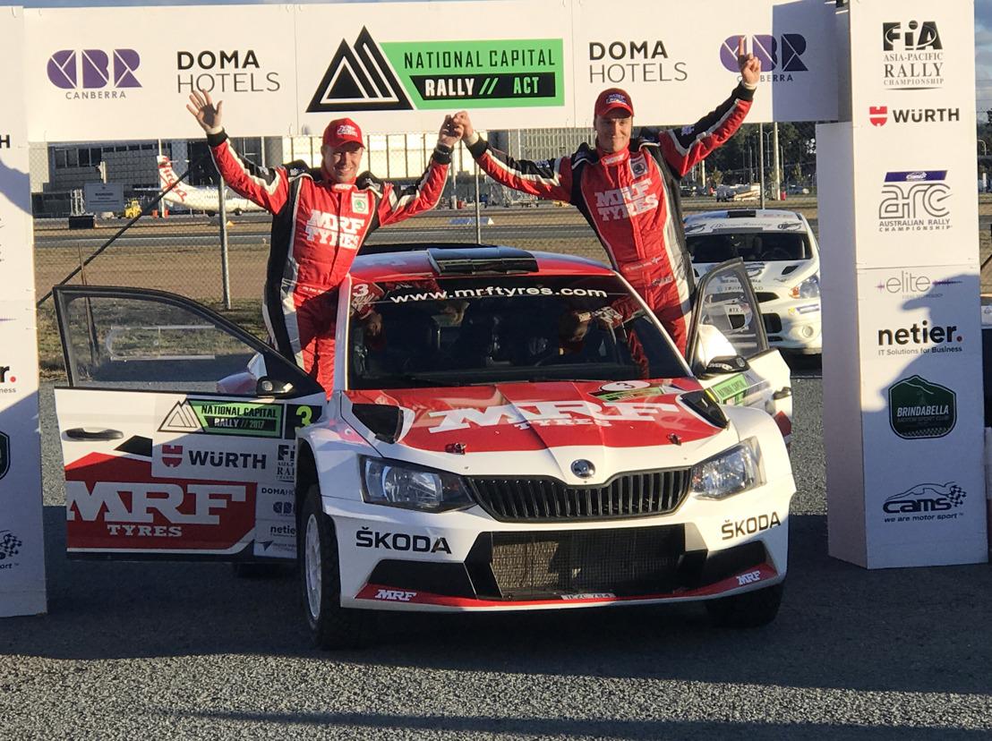 APRC National Capital Rally Canberra: Ole Christian Veiby wins for ŠKODA MRF ahead of teammate Gaurav Gill
