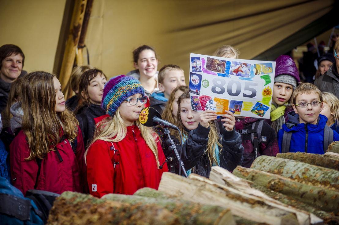 Kinderen tonen trots hun zelfgemaakte cheque (c) VRT - Thomas Geuens