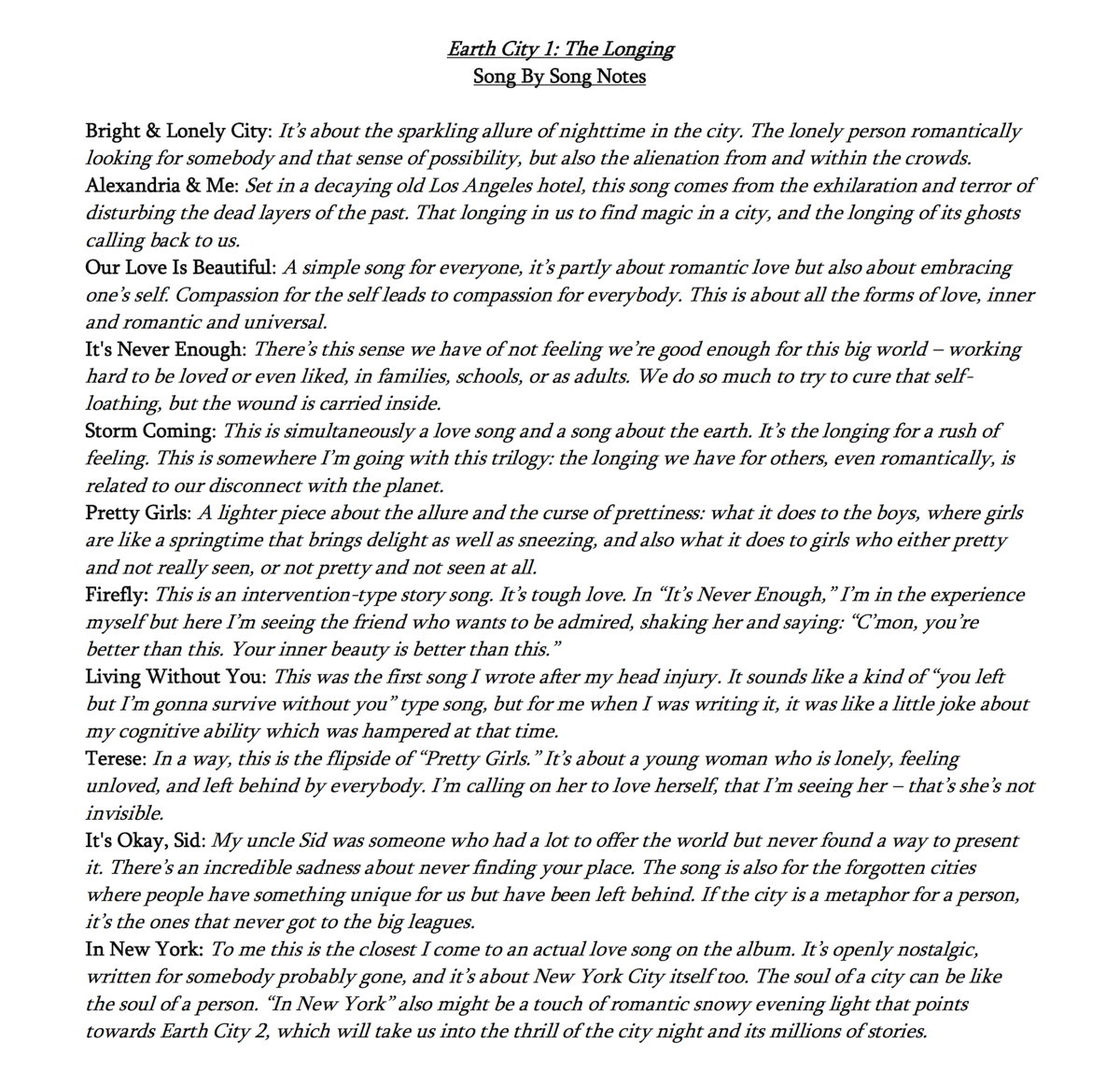 Ethan Gold - Earth City 1 - Song Notes - by Ethan Gold