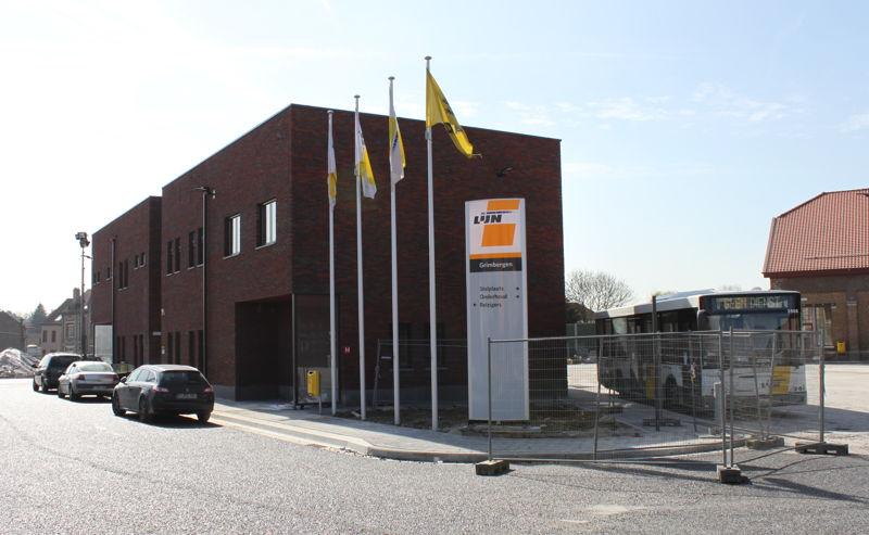 Het nieuwe stelplaatsgebouw in Grimbergen