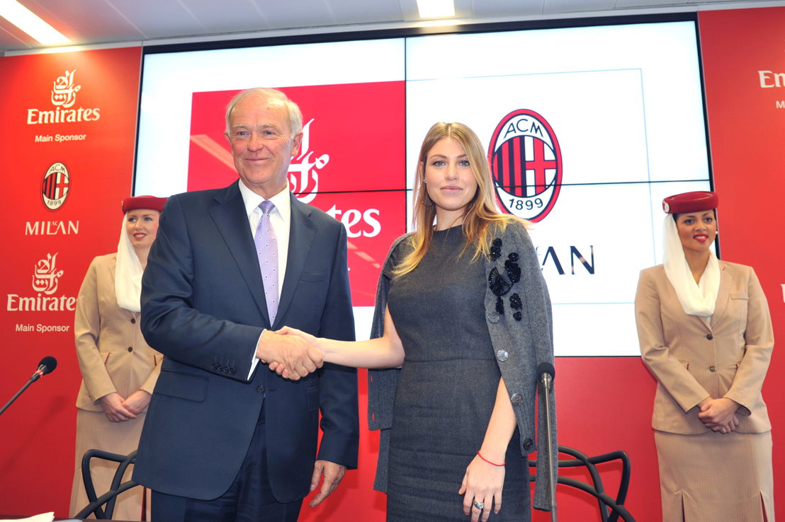 Sir Tim Clark, President Emirates Airline and Barbara Berlusconi, President AC Milan at the press conference in Milan