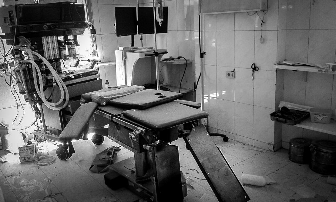 Damage inside and outside the MSF-supported Al Daqaq hospital after two bombings occured nearby. Photographer: Hospitals of Aleppo/MSF