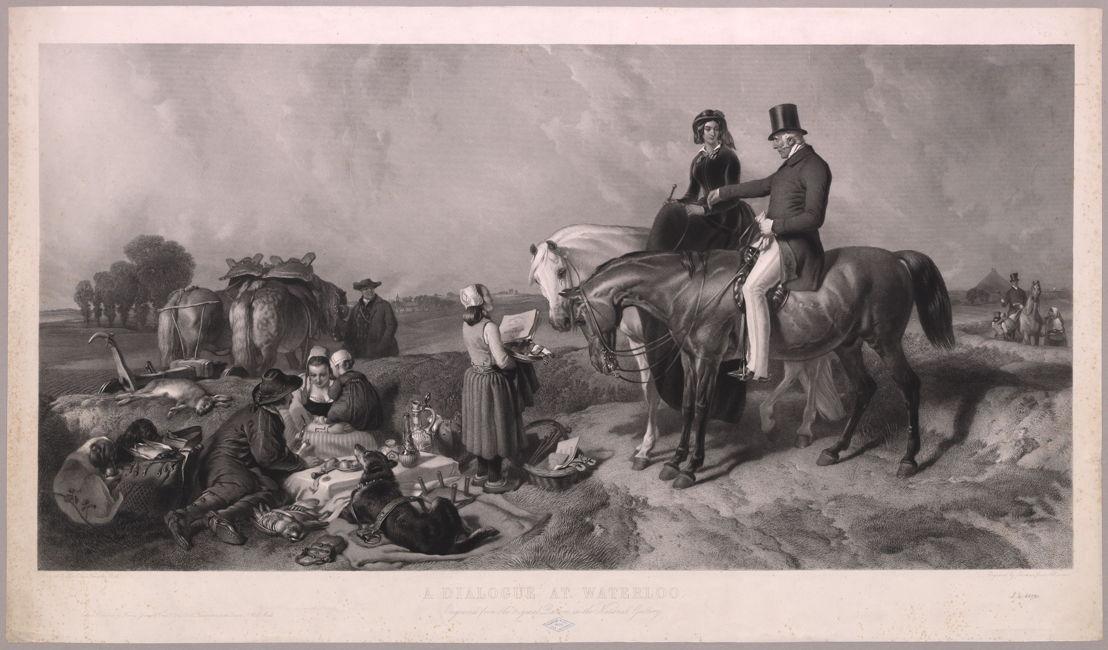 A dialogue at Waterloo, gegraveerd door Thomas-Lewis Atkinson, naar het originele schilderij van Sir Edwin Henry Landseer<br/>© Koninklijke Bibliotheek van België