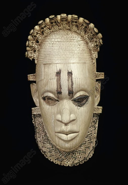 Mask of an Iyoba.<br/>West African, Benin, Nigeria, early 16th Century.<br/>Ivory, 25cm high.<br/>London, British Museum.<br/><br/>AKG593461