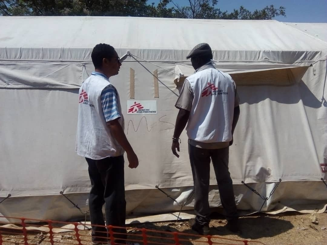 A Cholera Treatment Centre in Glenview, Harare that was set up by MSF to support the City of Harare health department to respond to the cholera outbreak. MSF set up cholera treatment centres in Harare and Buhera during the cholera outbreak in Zimbabwe. Photographer: Gloria Ganyani