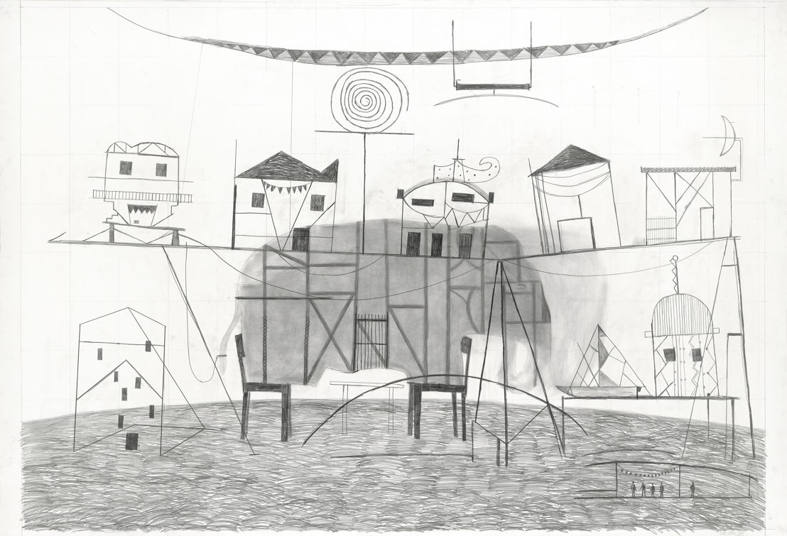 Dirk-Zoete-Fragile-setting-and-elephant-2011-pencil-on-paper-164x240cm