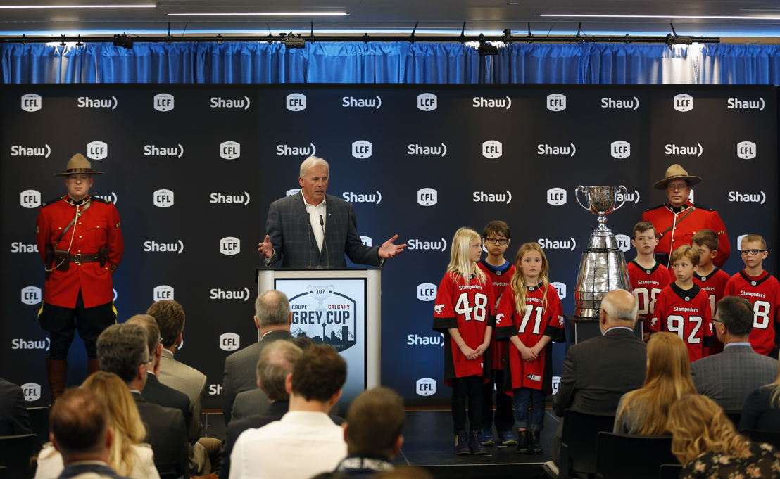 John Hufnagel, President and General Manager, Calgary Stampeders at the podium at Shaw Court. Photo Credit: Todd Korol
