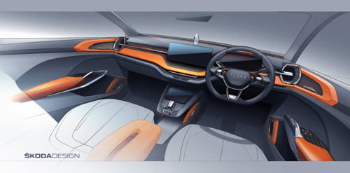 Concept study ŠKODA VISION IN: Interior sketch gives first glimpse of new compact SUV for the Indian market