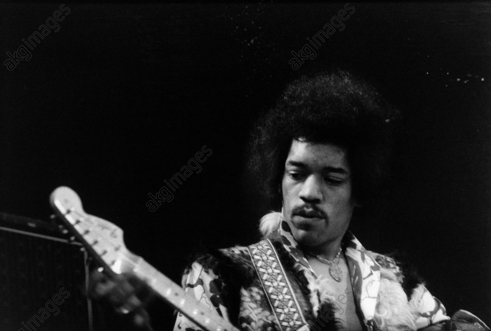 Jimi Hendrix during a concert at the Berlin Sportpalast. Photo, January 1969<br/>AKG323258
