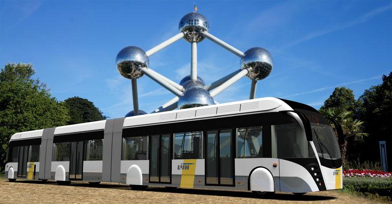 De hybride trambus voor de Ringtramlijn in de Brusselse Noordrand. Fabrikant: Van Hool. (Foto:  www.atomium.be)