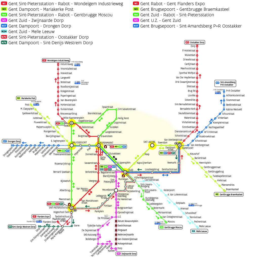 Netplan van het Gentse nachtnet van De Lijn.