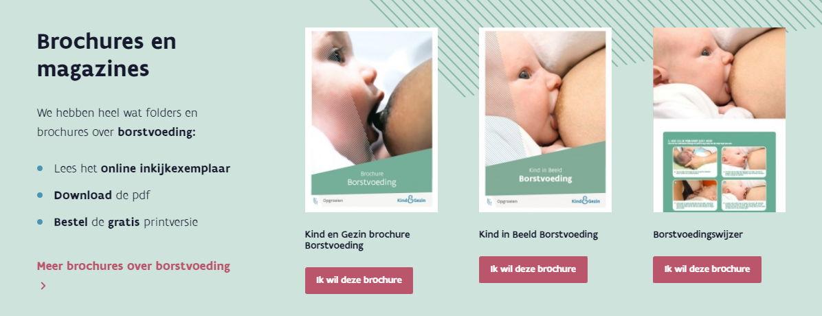 Borstvoedingsbrochures op www.kindengezin.be