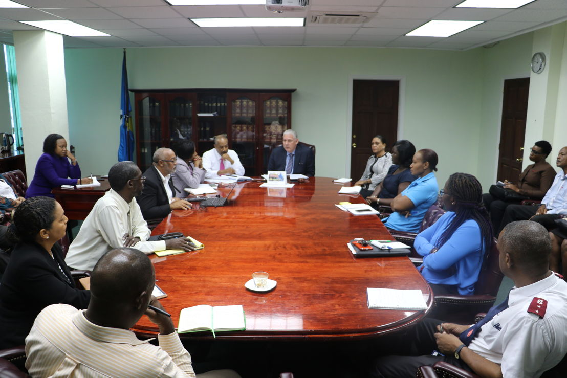 OECS Chairman and Prime Minister of Saint Lucia, Honourable Allen Chastanet, updates the meeting on most recent events.