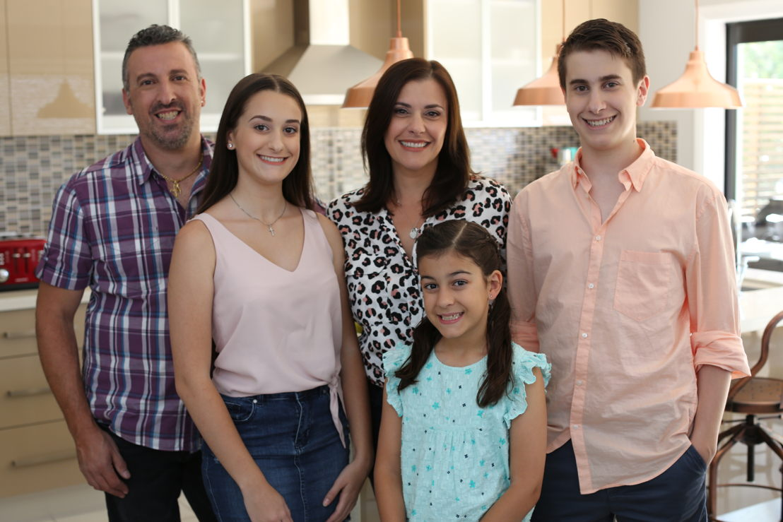 High-res image of the Ferrone family in their 2018 home LtoR (Dad) Peter, Sienna, (Mum) Carol, Olivia and Julian