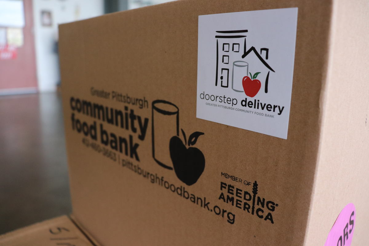 Every employee donated several boxes of food, like the one pictured above, to homes around Allegheny County.