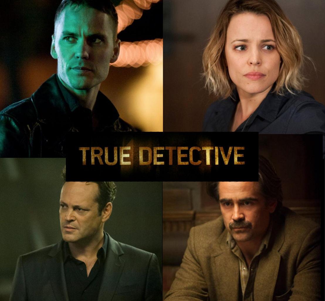 De hoofdpersonages van True Detective II: Paul Woodrugh (Taylor Kitsch) - Ani Bezzerides (Rachel McAdams) - Frank Semyon (Vince Vaughn) - Ray Velcoro (Colin Farrell) - HBO