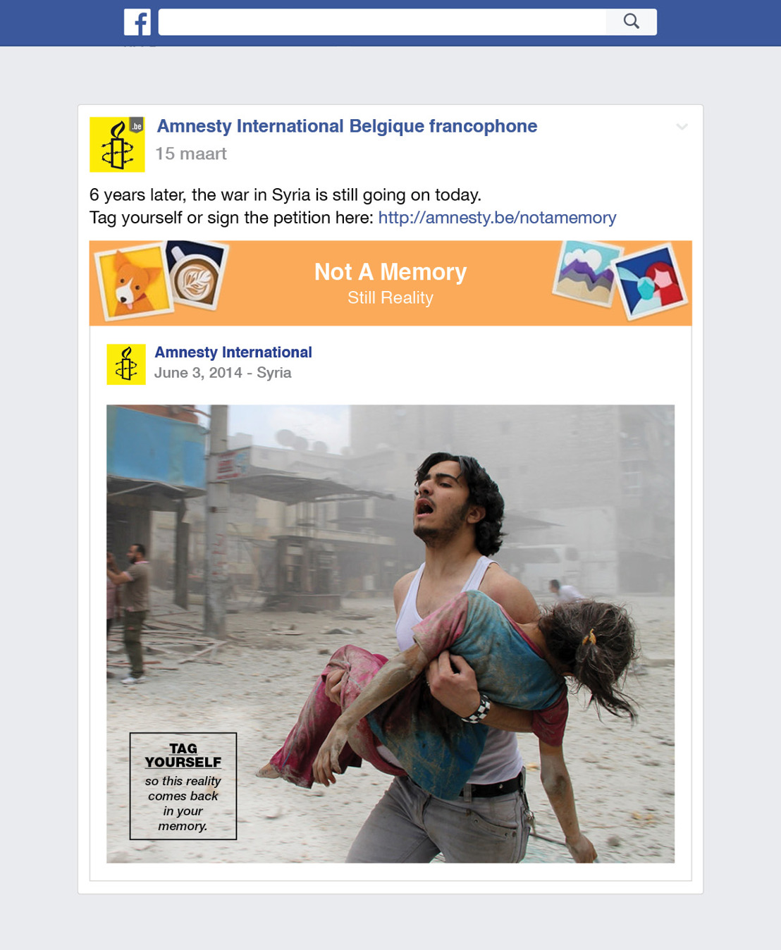 Amnesty International en Air maken van Facebook Memories, Facebook Realities.