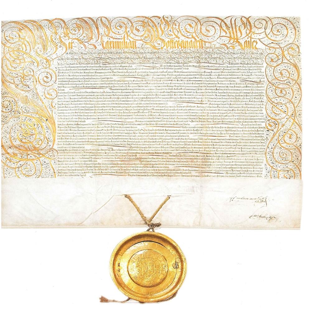 Keizerlijke oorkonde van Maximiliaan II die het graafschap Arenberg verheft tot vorstelijk graafschap, 5 maart 1576<br/>© Particuliere verzameling