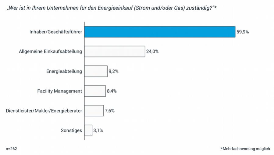59,9 % der befragten Unternehmen gaben an, der Inhaber oder Geschäftsführer des Unternehmens sei für den Energieeinkauf zuständig.