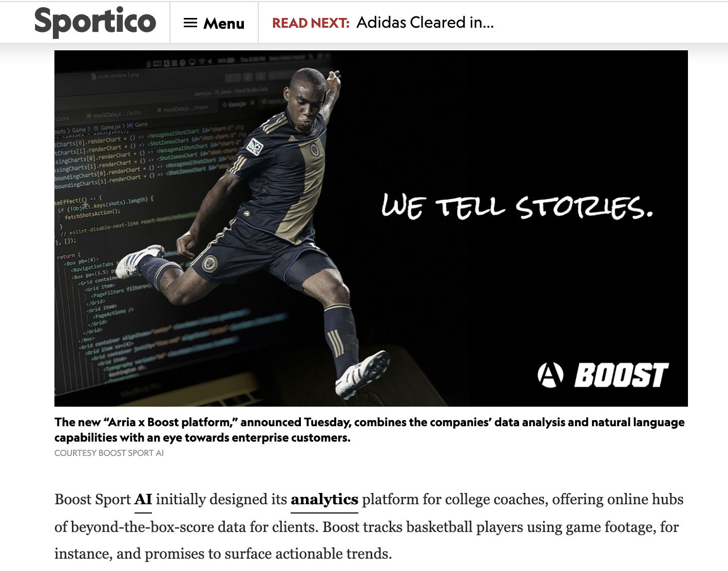 A.I. Meets Analytics in Boost-Arria Partnership, Personalizing Advanced Stats