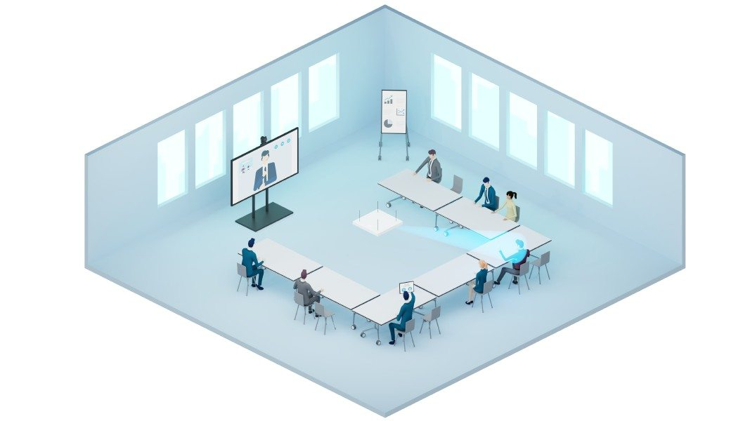 Ceiling microphones with flexible beamforming detect the position of the currently speaking person in the room and focus their directional effect on this sound source in real time.