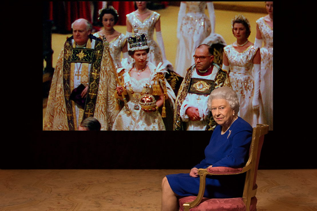 Her Majesty the Queen with archive footage. Photo Julian Calder