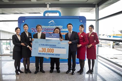 Cathay Pacific congratulates Hong Kong International Airport's 70 millionth passenger of 2016