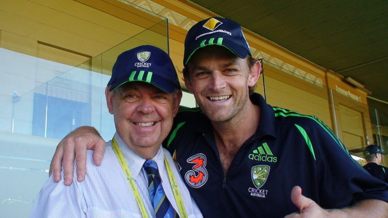 """Barry """"Nugget"""" Rees with Adam Gilchrist"""