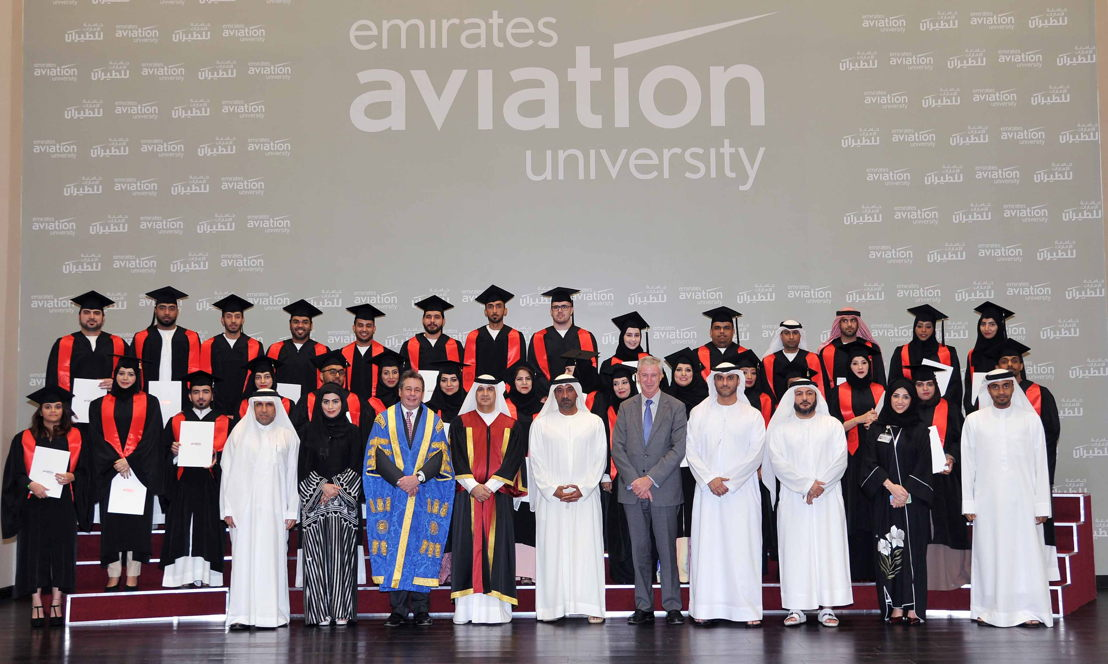 Sheikh Ahmed bin Saeed Al Maktoum Chairman and Chief Executive Emirates Airline & Group and Dr Ahmad Al Ali, Chancellor of Emirates Aviation University with EAU's class of 2015