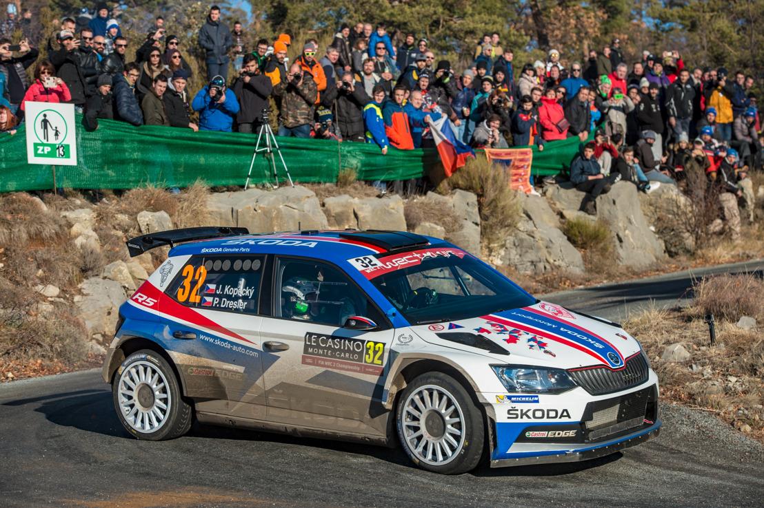 Rally Monte-Carlo: ŠKODA FABIA R5 driver Jan Kopecký wins WRC 2 category on his birthday