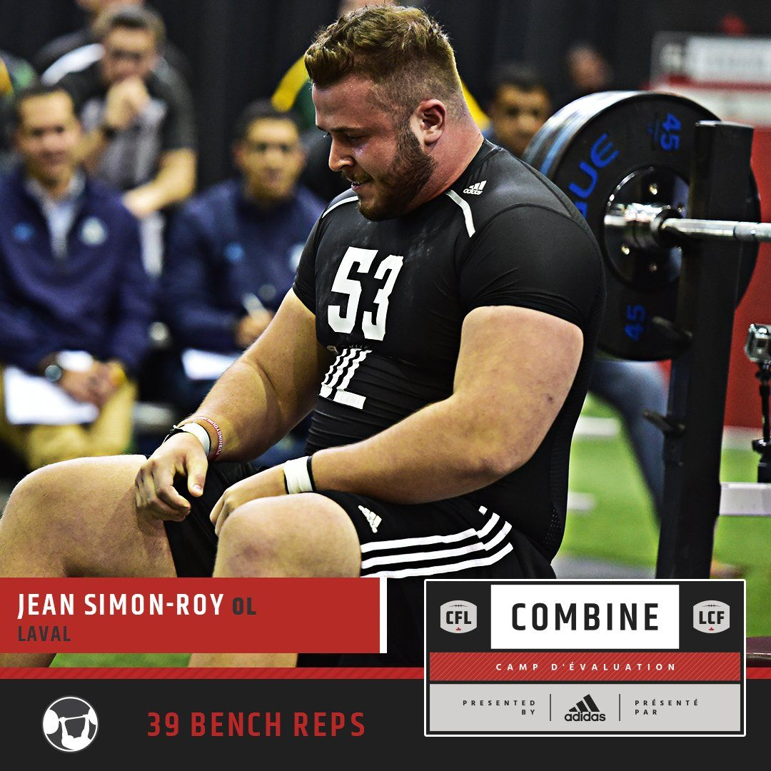 Jean-Simon Roy at the CFL Combine presented by adidas. Graphic via CFL