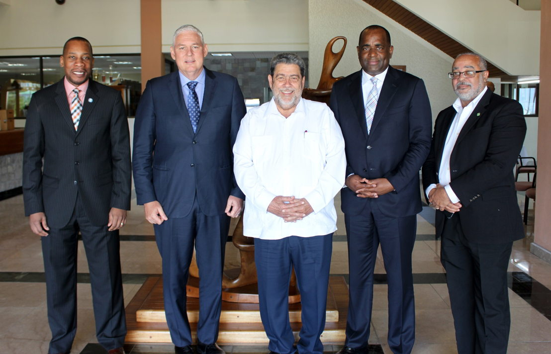 (L to R): Governor of the Eastern Caribbean Central Bank Mr Timothy N. J. Antoine, OECS Chairman and Prime Minister of Saint Lucia The Hon. Allen Chastanet, The Prime Minister of St. Vincent & the Grenadines Dr. Hon. Ralph Gonsalves, Prime Minister of Dominica The Hon. Roosevelt Skerrit and OECS Director General Dr. Didacus Jules.  Photo Credit Marion Bristol