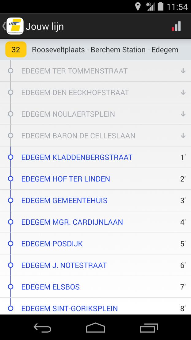 De Lijn - app halteaankondiging<br/>De app toont de volgende haltes en bijhorende reistijd als &#039;parelsnoer&#039;