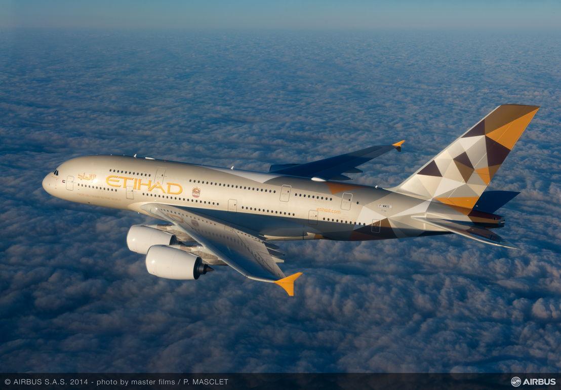 De nieuwe A380 van Etihad Airways.