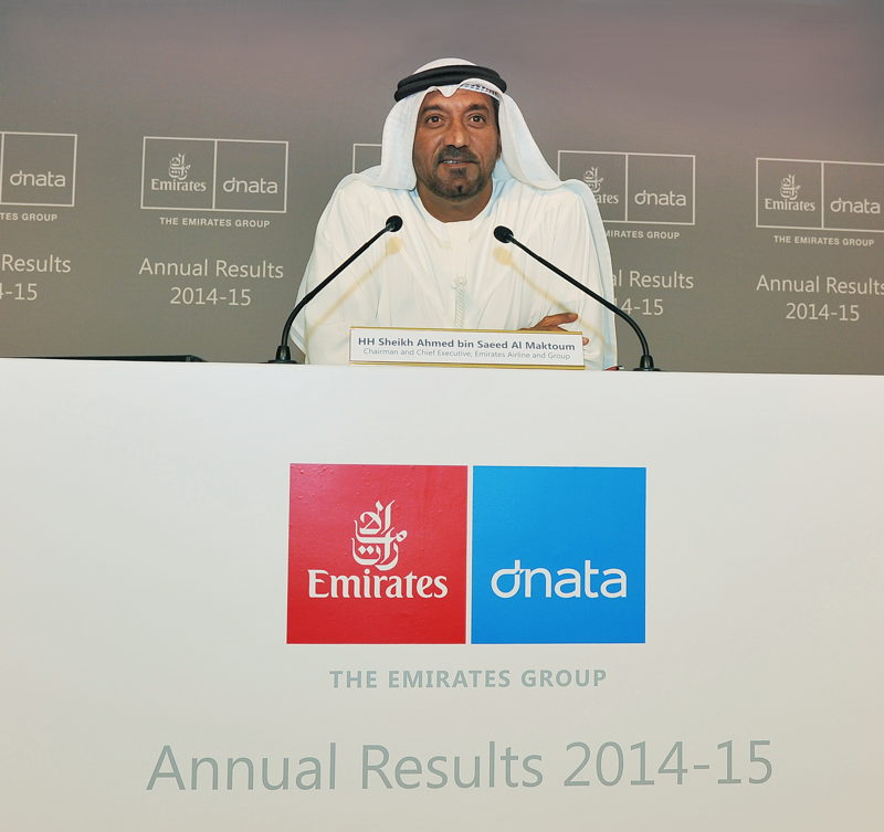 His Highness Sheikh Ahmed bin Saeed Al Maktoum, Chairman and Chief Executive, Emirates Airline and Group today announced The Emirates Group Annual Results 2014-15