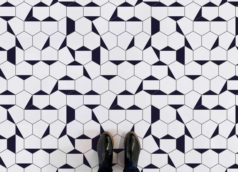 Berlin | Black and White Geometric Vinyl Flooring