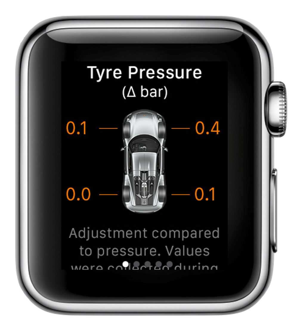 Information about the tyre pressure